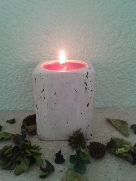 Travertin-Teelichthalter 10 cm