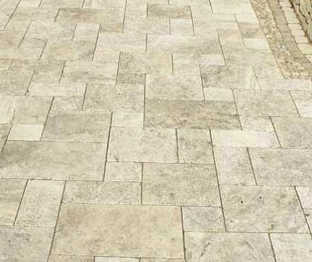 Terrassenplatten Travertin Casellina-Silber 20 x 20 x 3 cm