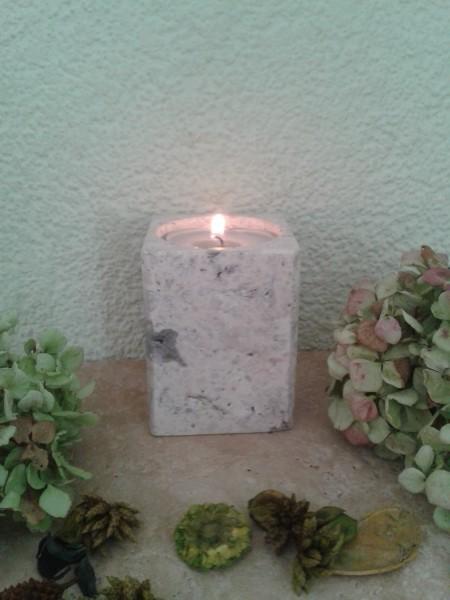 Travertin-Silber-Teelichthalter 10 cm