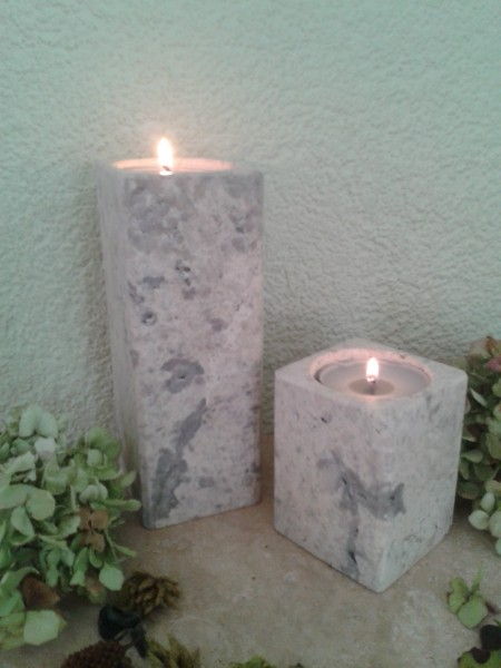Travertin-Silber-Teelichthalter 10+20 cm im 2er Set