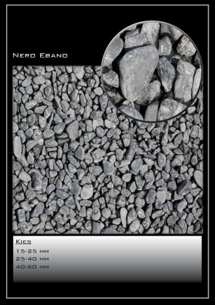 Zierkies Nero Ebano schwarz 25-40mm