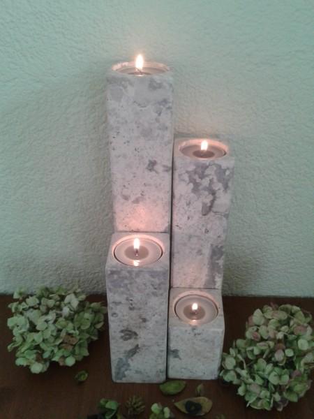 Travertin-Silber-Teelichthalter 10+20+30+40 cm im 4er Set