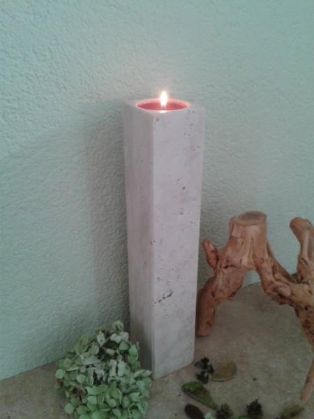 Travertin-Teelichthalter 40 cm