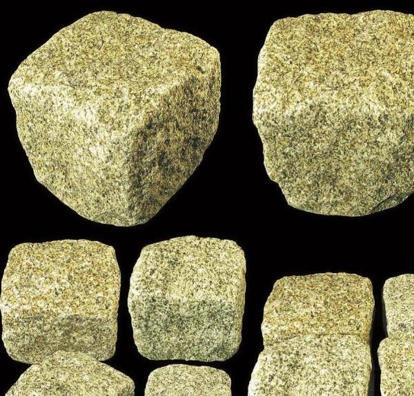 Pflastersteine Granit, gelbgrau 7x9 cm