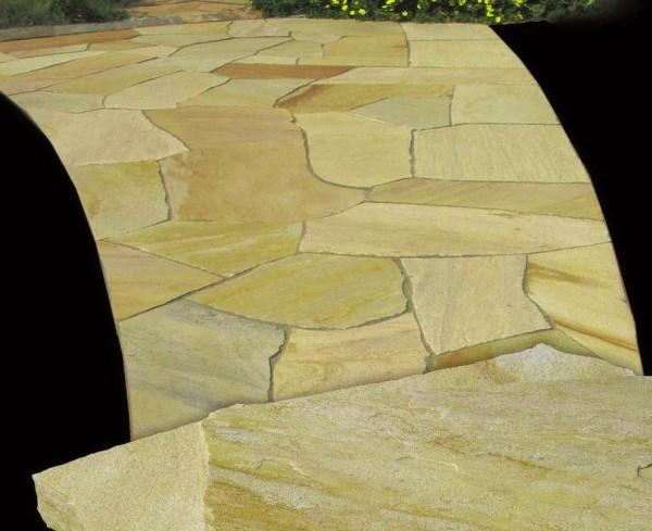 Polygonalplatten Quarzit San Tome gelblich, 3-5 cm stark