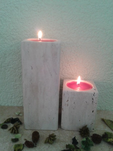 Travertin-Teelichthalter 10 cm+20 cm im 2er Set