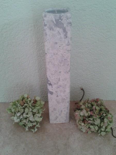 Travertin-Silber-Teelichthalter 40 cm