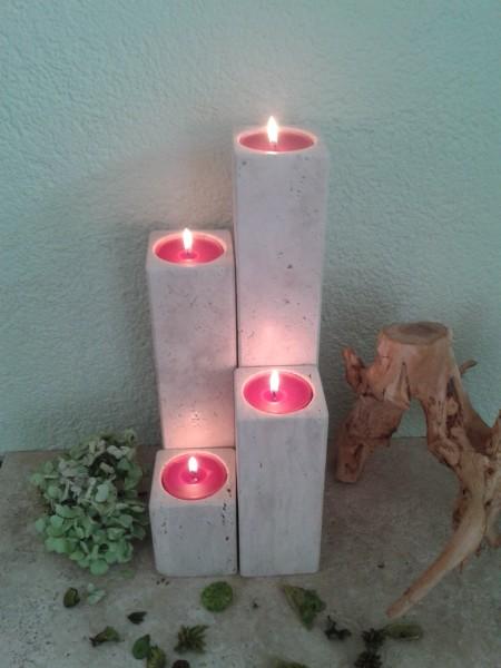 Travertin-Teelichthalter 10+20+30+40 cm im 4er Set
