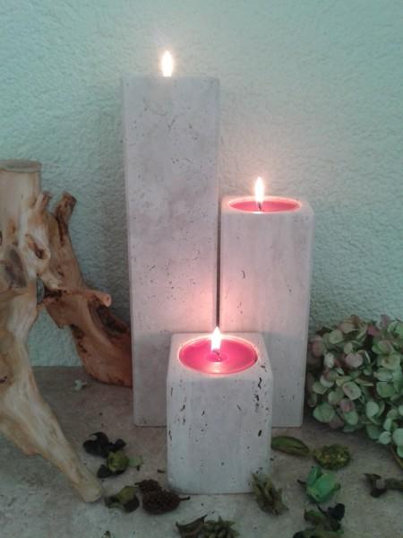 Travertin-Teelichthalter 10+20+30 cm im 3er Set